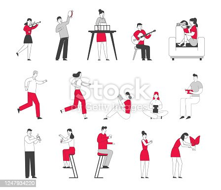 istock Set of Male and Female Characters Engage Sports Activity, Jogging and Running Marathon, Kids Playing Musical Instruments in Music School Class. People Drinking in Bar. Linear Vector Illustration 1247934220