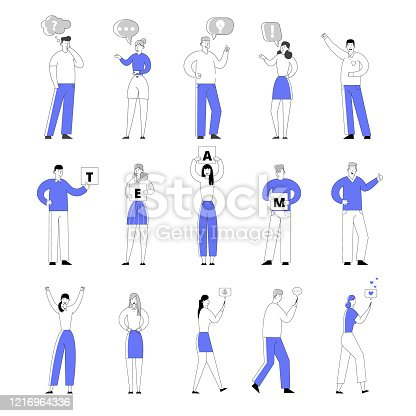 istock Set of Male and Female Characters Teamwork Cooperation and Social Media Communication. People Holding Banners with Team Inscription, Chatting on Mobile Phone in Internet. Linear Vector Illustration 1216964336