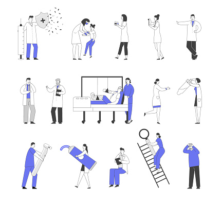 Set of Male and Female Doctors and Patients Characters in Hospital, Vaccination and Concilium, Injured Man in Clinic Chamber. Nurse with Test Tube Dentist with Drill. Linear People Vector Illustration