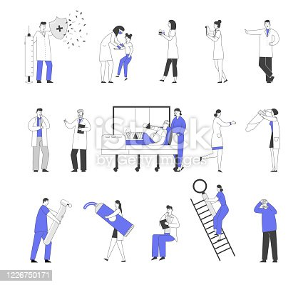 istock Set of Male and Female Doctors and Patients Characters in Hospital, Vaccination and Concilium, Injured Man in Clinic Chamber. Nurse with Test Tube Dentist with Drill. Linear People Vector Illustration 1226750171