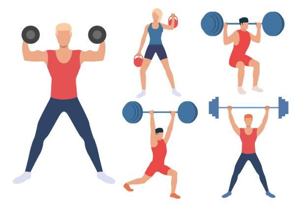 illustrazioni stock, clip art, cartoni animati e icone di tendenza di set of male and females weight lifters - pesistica