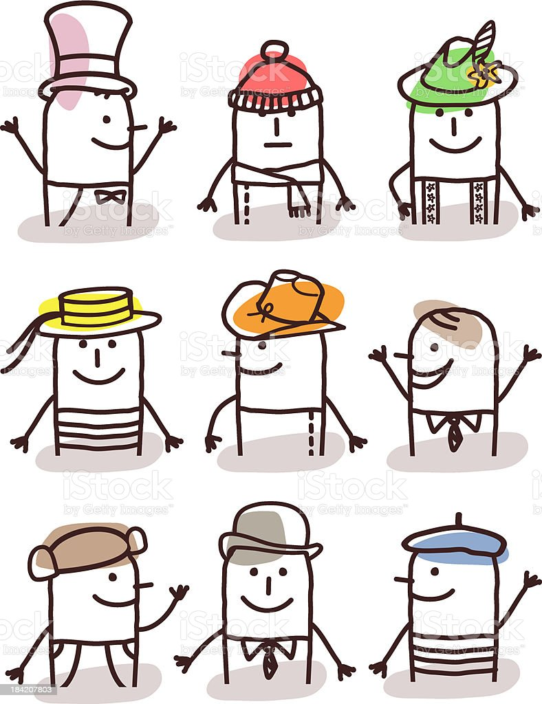 set of male avatars - hats and traditions vector art illustration