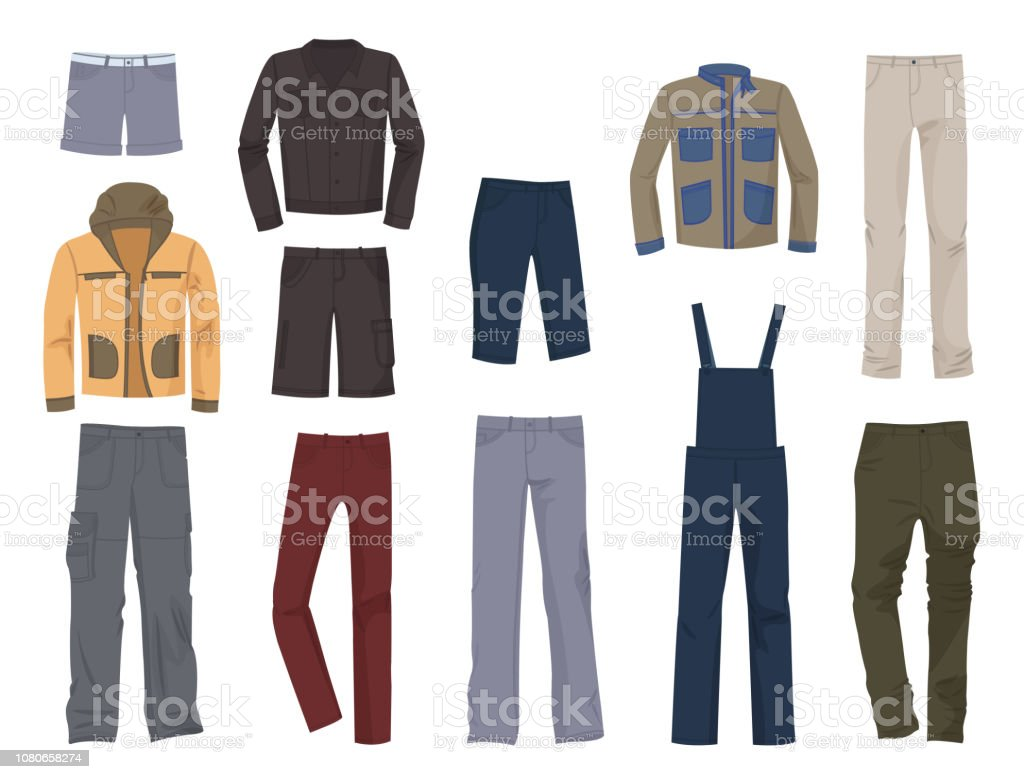 Set of male casual clothing vector art illustration