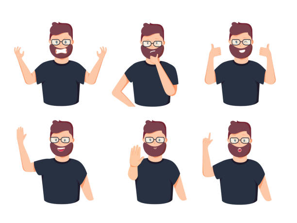 Set of male character with different gestures and emotions. Vector illustration in a flat style vector art illustration
