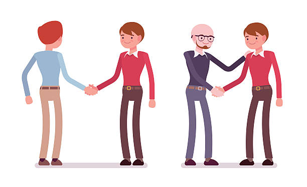 set of male characters in a casual wear handshaking - business casual fashion stock illustrations