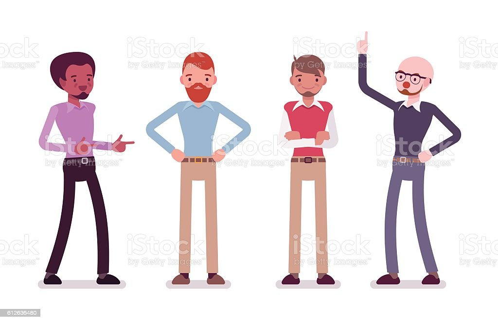 Set of male characters in a casual wear - ilustración de arte vectorial