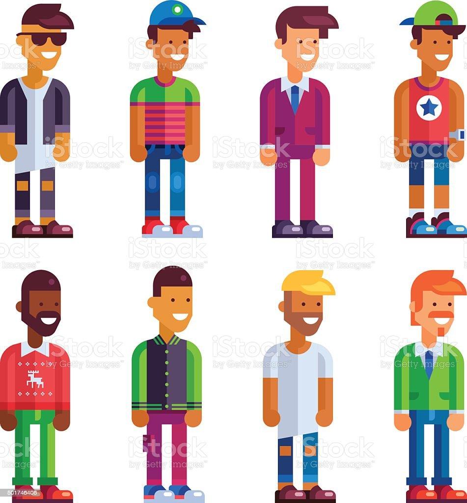 Super Set Of Male Characters In Flat Design stock vector art 501746406  JK44