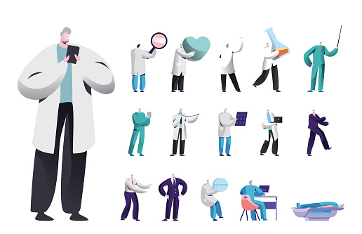 Set of Male Characters, Medicine Doctor or Nurse with Smartphone, Heart and Pill, Test Tube, Magnifying Glass or Beaker