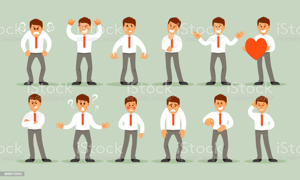 Set of male emotions vector art illustration