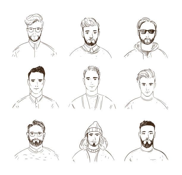illustrations, cliparts, dessins animés et icônes de ensemble de visages masculins. avatars linéaires. illustration d'art de ligne - portrait homme