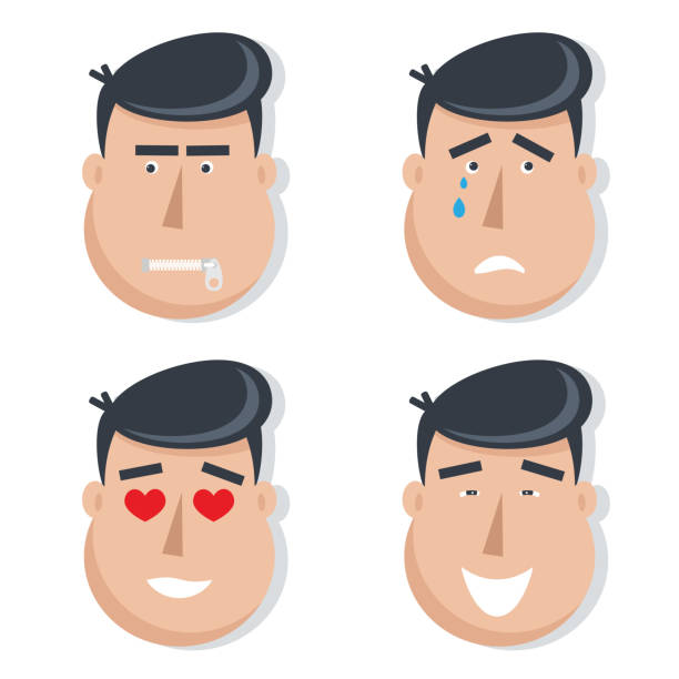 set of male faces with emotions. - jealous emoji stock illustrations, clip art, cartoons, & icons