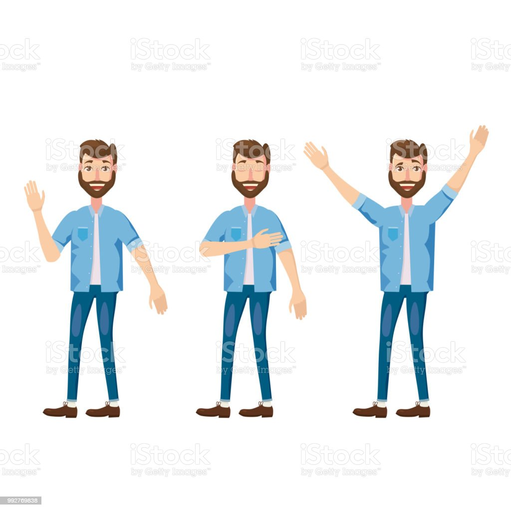 Set of male facial emotions. Bearded man emoji character with different expressions poses. Vector illustration in cartoon style vector art illustration