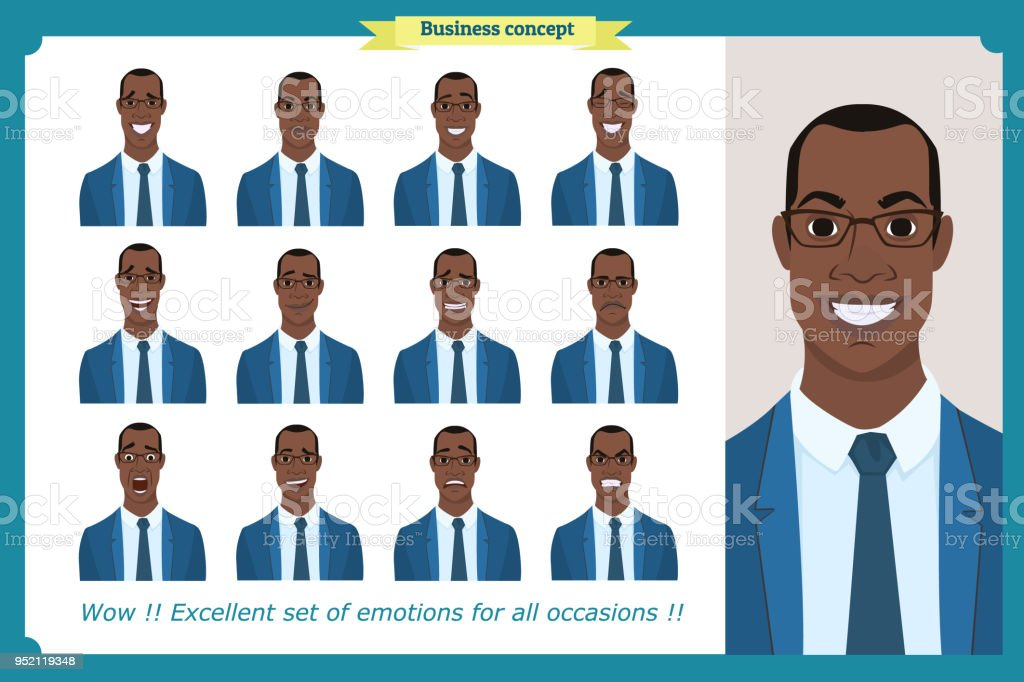 Set of male facial emotions.Black American business man character with different expressions.Vector illustration in cartoon style.Peoples faces, men, person. Male characters. vector art illustration