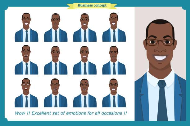 ilustraciones, imágenes clip art, dibujos animados e iconos de stock de conjunto de emociones faciales masculinas. carácter de hombre de negocios americano negro con diferentes expresiones. ilustración de vector de estilo de dibujos animados. gente de caras, hombre, persona. personajes masculinos. - descendencia africana