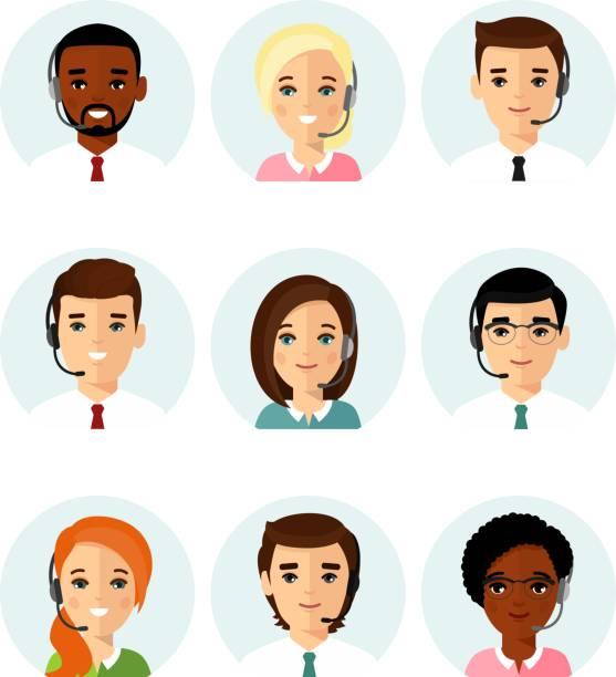 bildbanksillustrationer, clip art samt tecknat material och ikoner med uppsättning av manliga kvinnliga hjälptelefon operatör med headset consulting en klient. - headset