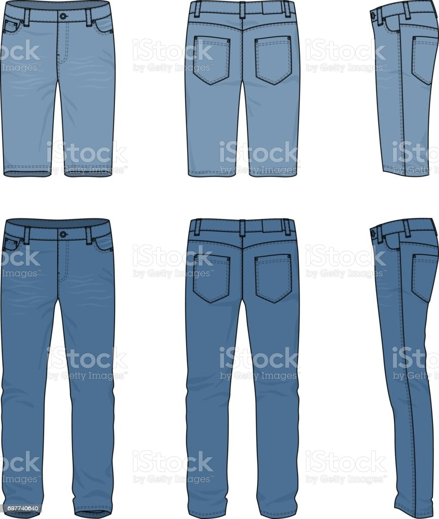 Set of male jeans and shorts. vector art illustration