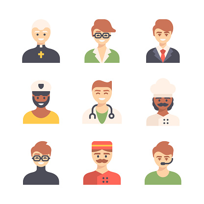 Set of Male Occupation Avatar Flat Icons. Pixel Perfect. For Mobile and Web. Priest, Fashion Designer, Designer, Lawyer, Sailor, Captain, Doctor, Nurse, Chef, Programmer, Concierge, Customer Support.