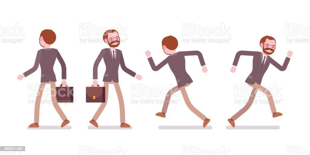 dd81d0dba Conjunto de professor do sexo masculino a andar e vista de execução,  traseira, dianteira