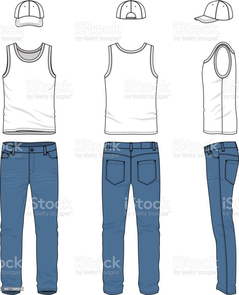 Stock Gilet Vecteur De Ensemble Baseball Homme Casquette Jeans De 0Rc1qO7 5dedf8bbd3b