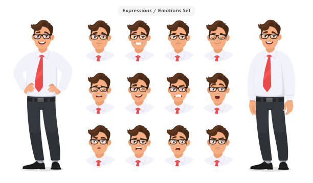 illustrazioni stock, clip art, cartoni animati e icone di tendenza di set of male's different facial expressions. man emoji character with various face reaction/emotion, wearing formal dress, tie and eyeglasses. human emotions concept illustration in vector cartoon. - espressione del viso