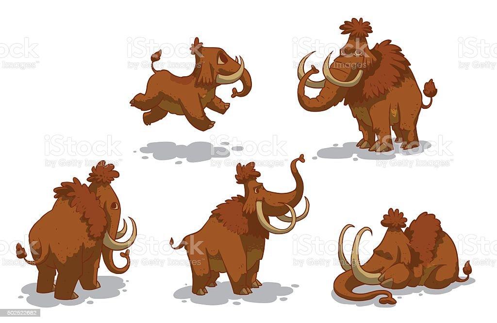Set of mammoths vector art illustration