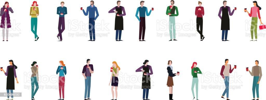 conjunto de hombre y mujeres en diferentes poses. Hombre y mujer es beber café. - ilustración de arte vectorial