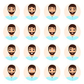 Set of man emotions icons
