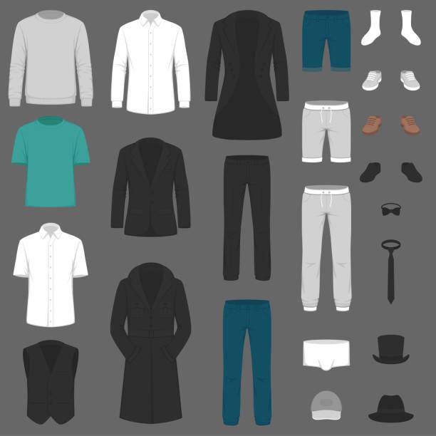 Bекторная иллюстрация Set of man fashion. Vector clothes. pants, suit, shirt and jacket