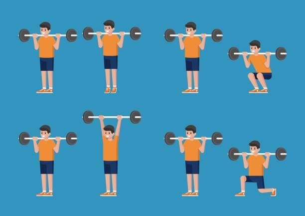 Satz von Mann in Bodybuilding und Gewicht Training Posen. – Vektorgrafik