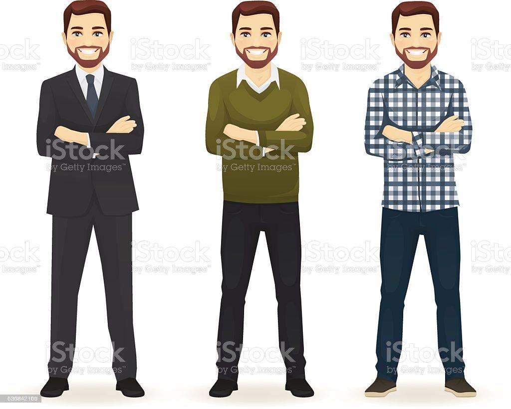 Ein Satz von Mann in verschiedenen Kleidung – Vektorgrafik