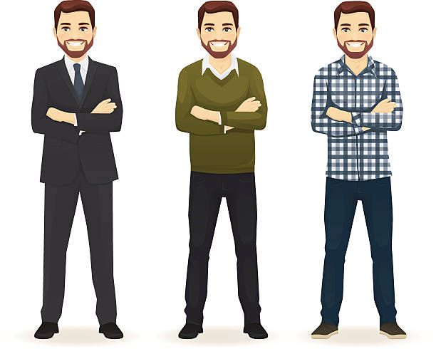 set of man in different clothes - businessman stock illustrations, clip art, cartoons, & icons
