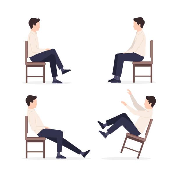 set of man on chair - siedzieć stock illustrations