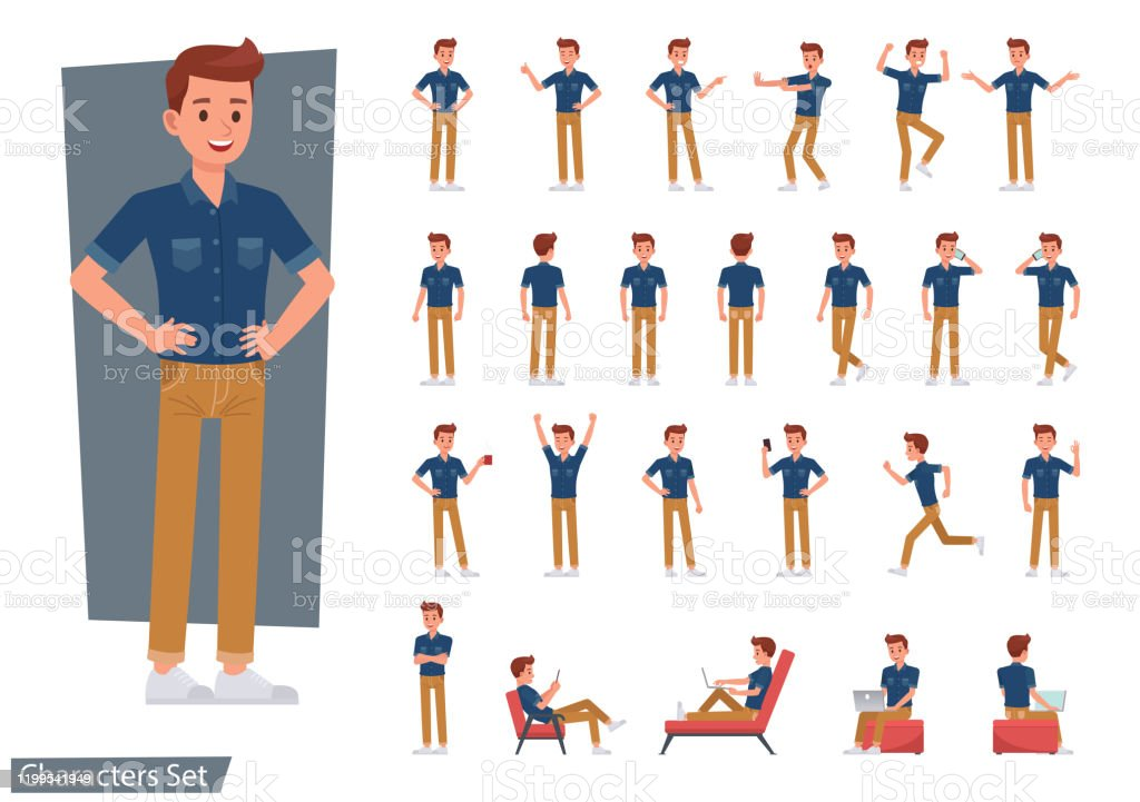 Set of man wear blue jeans shirt character vector design. Presentation in various action with emotions, running, standing and walking. - Royalty-free Adolescente arte vetorial
