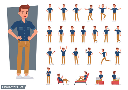 Set of man wear blue jeans shirt character vector design. Presentation in various action with emotions, running, standing and walking.