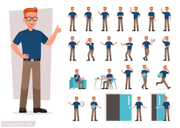 illustrazioni stock, clip art, cartoni animati e icone di tendenza di set of man working in office and presentation in various action. - ritratto in ufficio