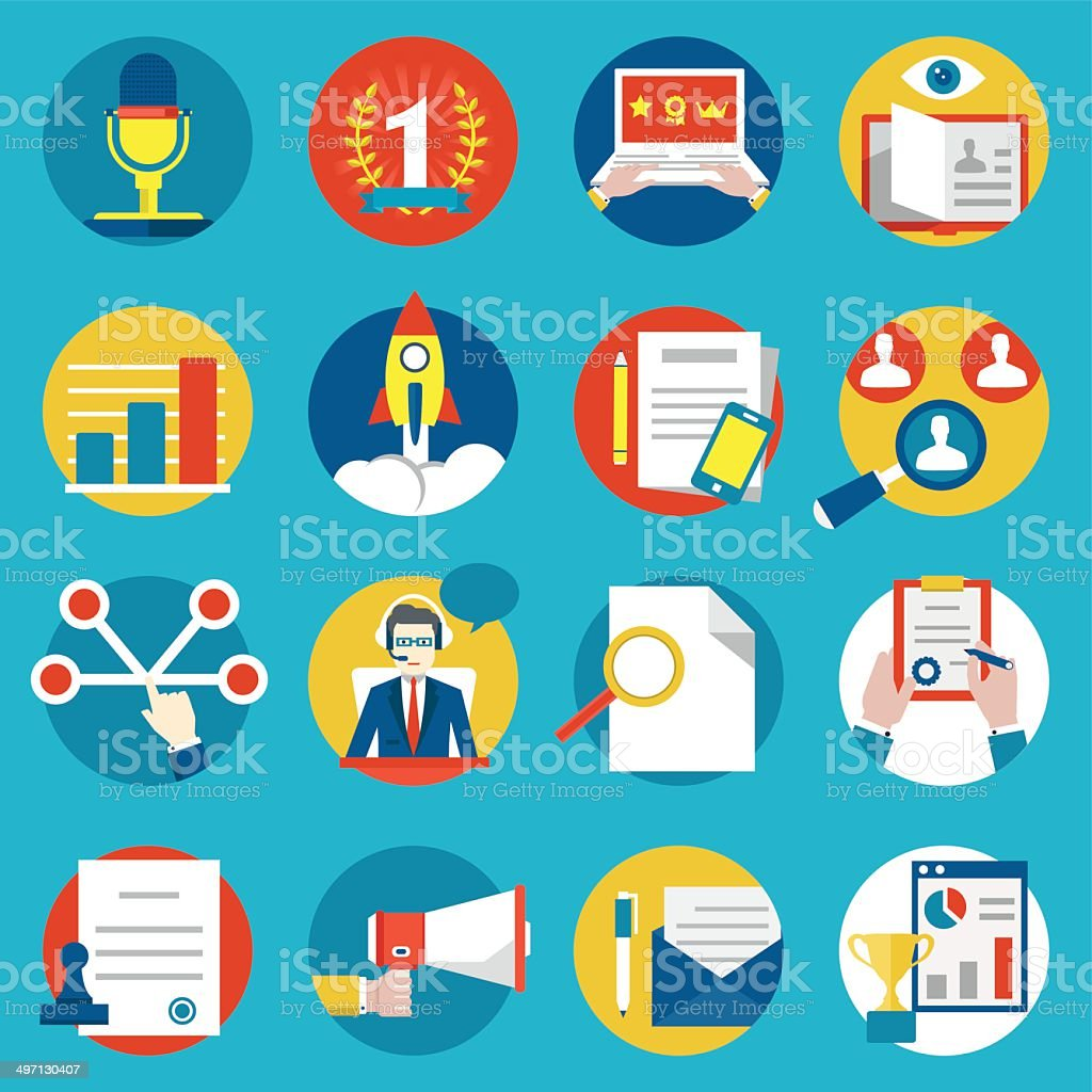 Set of management human resources and customer experience icons vector art illustration