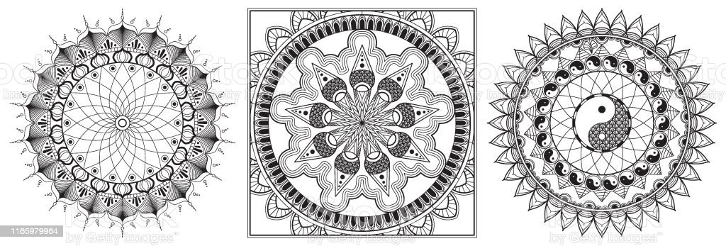 Set Of Mandala Coloring Page For Adult Relaxation Mandala Design Eye Mandala Coloring Pages For Meditation And Happiness Mandala Flower Coloring Book Page Template High Detail Vector Stock Illustration Download Image