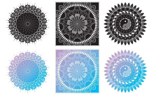 set of mandala coloring page for adult relaxation mandala design eye vector id