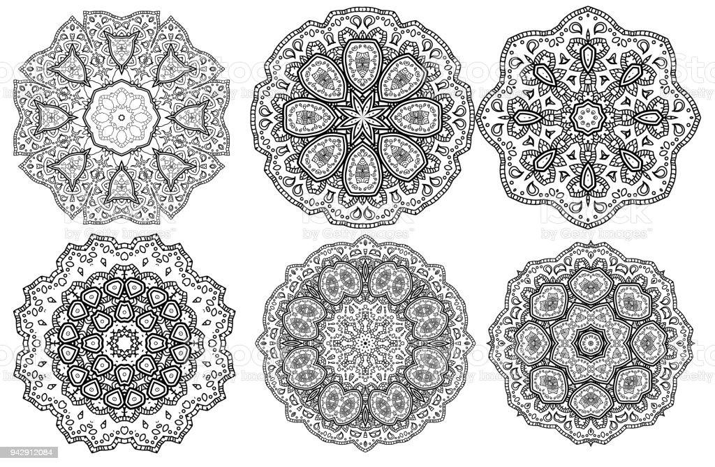 Ilustración de Set De Patrón Floral Medallón Indio De Mandala ...