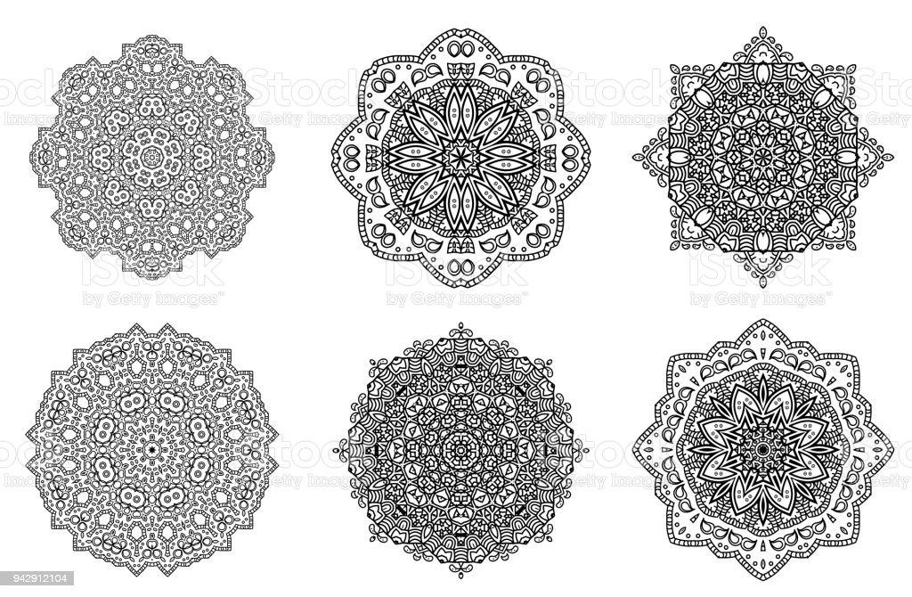 Set De Patrón Floral Medallón Indio De Mandala Elementos Decorativos ...