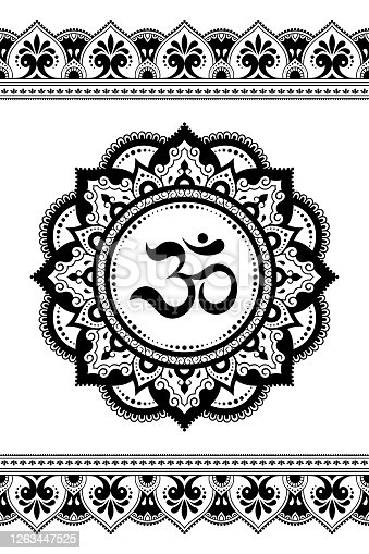 Set of mandala pattern and seamless border for Henna drawing and tattoo. Decoration in ethnic oriental mehndi, Indian style. Doodle ornament in black and white with OM symbol. Vector illustration.