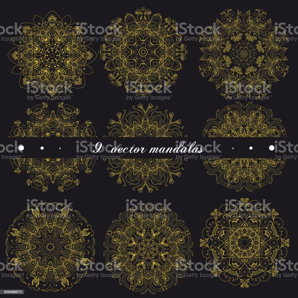 Ilustracion De Conjunto De Mandalas Indios Etnicos Ronda Ornamentos - Mandalas-indios