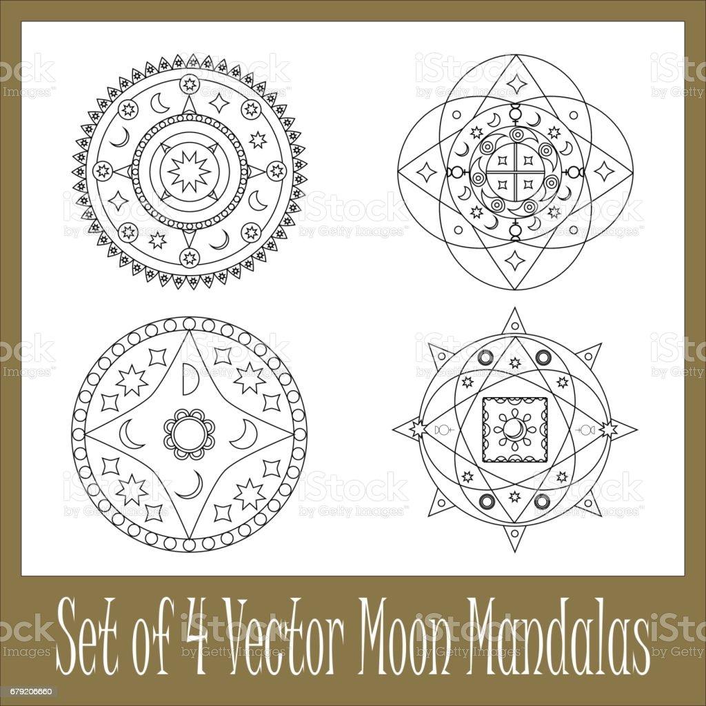 Set Of Mandalas With Moon Circle Vector Ornament Illustrazione