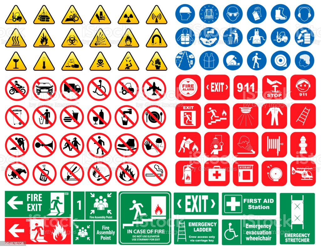 set of mandatory sign, hazard sign, prohibited sign, fire emergency sign. - Royalty-free Aluminum stock vector