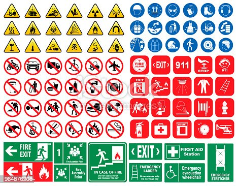 istock set of mandatory sign, hazard sign, prohibited sign, fire emergency sign. 964876208