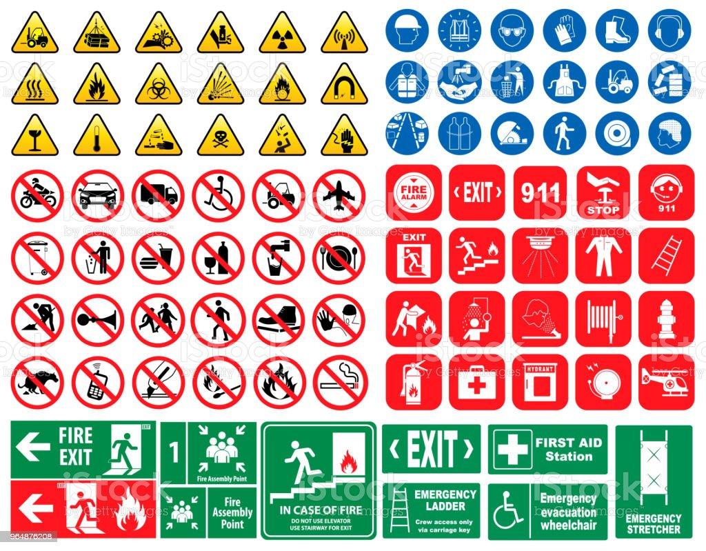 Satz der obligatorischen Schild, Gefahr verboten Feuer Notfall Schild. – Vektorgrafik