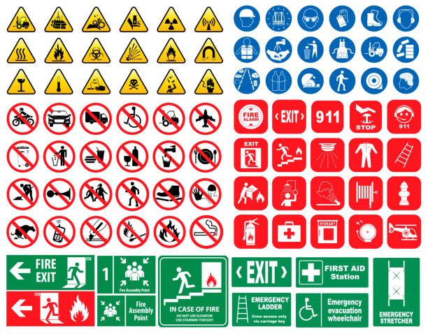 ilustrações de stock, clip art, desenhos animados e ícones de set of mandatory sign, hazard sign, prohibited sign, fire emergency sign. - seguros