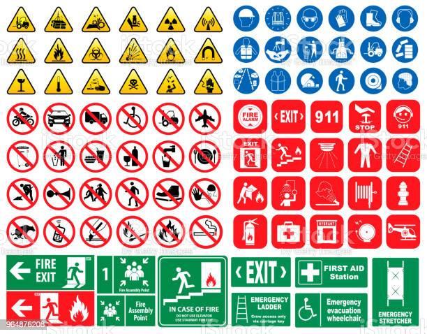 Set Of Mandatory Sign Hazard Sign Prohibited Sign Fire Emergency Sign - Arte vetorial de stock e mais imagens de Alumínio