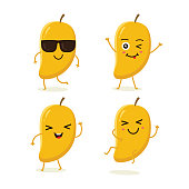 Cute vector set of mango fruit character in different action emotion. Collection of mango characters in different expressions, Funny fruit character isolated on white background