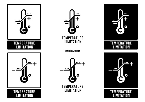A set of manipulation symbols for packaging cargo products and goods. Marking - Temperature limitation. Vector elements.